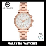 (100% Original) MICHAEL KORS Ladies MK6576 Sofie Chronograph Rose Gold-Tone Stainless Steel Watch