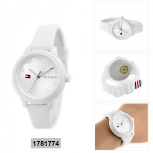 (100% Original) Tommy Hilfiger Ladies' 1781774 Ashley White Rubber Strap Watch (White)