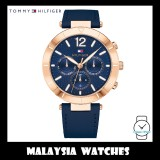 (100% Original) Tommy Hilfiger Women's 1781881 Chloe Rose Gold Navy Leather Watch