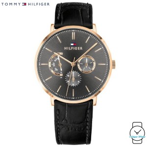 (100% Original) Tommy Hilfiger Men's 1710377 Dane Multi Dial Black Leather Watch