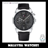 (100% Original) Tommy Hilfiger Men's 1791548 Deacan Multi Dial Black Leather Watch