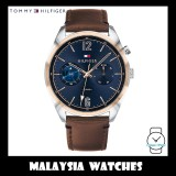 (100% Original) Tommy Hilfiger Men's 1791549 Deacan Multi Dial Brown Leather Watch
