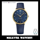 (100% Original) Tommy Hilfiger Women's 1781807 Navy Crystal Dress Leather Watch