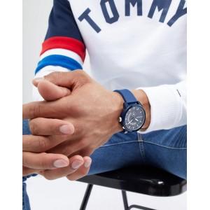 (100% Original) Tommy Hilfiger Denim Sport Men's 1791482 Silicon Watch (Blue)