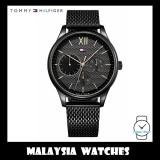 Tommy Hilfiger Men's 1791420 Damon Black Dial Stainless Steel Mesh Watch (Black)