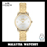(100% ORIGINAL) Coach Ladies' 14502892 Delancey Silver Dial Gold Bangle Stainless Steel Watch