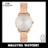 (100% ORIGINAL) Coach Ladies' 14502893 Delancey Silver Dial Rose Gold Bangle Stainless Steel Watch