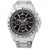 Seiko Quartz SNDF69P1 Gents LEE HOM Criteria Chronograph Sapphire Crystal Glass Watch (Silver, Black & Red)