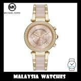 (100% Original) MICHAEL KORS Ladies MK6326 Parker Pink Dial Gold-Tone Stainless Steel Pink Acetate Watch