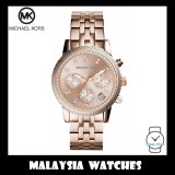 (100% Original) MICHAEL KORS Ladies MK6077 Ritz Chronograph Rose-Gold Tone Stainless Steel Watch