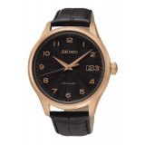Seiko Automatic 100M SRP706K1 Leather Strap Gents Watch (Black & Rose Gold)