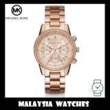 (100% Original) MICHAEL KORS Ladies MK6493 Ritz Chronograph Rose Gold-Tone Stainless Steel Watch