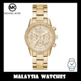 (100% Original) MICHAEL KORS Ladies MK6597 Ritz Chronograph Gold-Tone Stainless Steel Watch