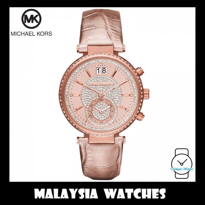 8ef45c7c7d56c (100% Original) MICHAEL KORS Ladies MK2445 Sawyer Rose Gold Chronograph  Leather Watch