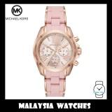 (100% Original) MICHAEL KORS Ladies MK6579 Bradshaw Chronograph Rose-Gold Tone & Pale Pink Silicone Watch
