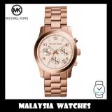 (100% Original) MICHAEL KORS Ladies MK5128 Runway Chronograph Rose-Gold Tone Stainless Steel Watch