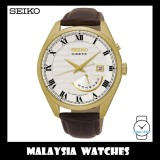 Seiko Gents SRN074P1 Kinetic Date-Day White Dial Gold Case Brown Leather Watch