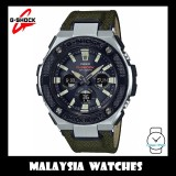 (OFFICIAL WARRANTY) Casio G-SHOCK G-STEEL GST-S330AC-3A Solar Analog-Digital Men's Military Green Cloth Tough Leather Band Watch