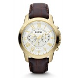 Fossil FS4767 Grant Chronograph Leather Watch (Brown)