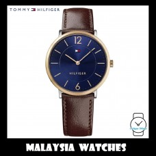 (100% Original) Tommy Hilfiger Men's 1710354 James Dark Blue Dial Brown Leather Watch