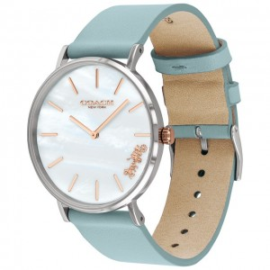 (100% ORIGINAL) Coach Ladies' 14503271 Perry Collection White Mother of Pearl Dial Teal Leather Strap Watch