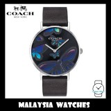 (100% ORIGINAL) Coach Ladies' 14503241 Perry Collection Black Leather Strap Watch