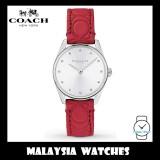 (100% ORIGINAL) Coach Ladies' 14503209 Modern Luxury Silver Dial Red Leather Strap Watch