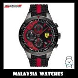 (100% Original) Scuderia Ferrari Men's 0830592 Redrev Quartz Chronograph Silicon Strap Watch (Black & Red)