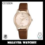 (100% Original) Citizen EW2533-11X Eco Drive Ladies Brown Leather Watch