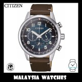 (100% Original) Citizen Gents CA4420-13L Eco Drive Chronograph Brown Leather Strap Watch