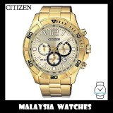 (100% Original) Citizen Gents AN8122-51P Quartz Chronograph Gold Dial Stainless Steel Watch