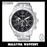 (100% Original) Citizen Gents AN8130-53E Quartz Chronograph Black Dial Stainless Steel Watch