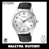 (100% Original) Citizen Gents AW1231-07A Eco-Drive Silver Dial Black Leather Solar Watch