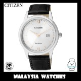 (100% Original) Citizen Gents AW1236-11A Eco-Drive Silver Dial Black Leather Solar Watch