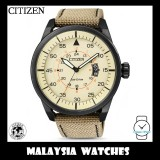 (100% Original) Citizen Gents AW1365-19P Aviator Eco-Drive Beige Leather-Backed Nylon Solar Watch
