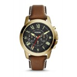 Fossil FS5062 Grant Chronograph Leather Watch (Brown)