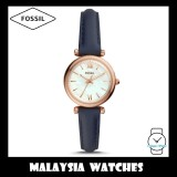 (OFFICIAL WARRANTY) Fossil Women ES4502 Carlie Mini Three-Hand Navy Leather Watch