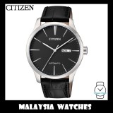 (100% Original) Citizen Gents NH8350-08E Mechanical Black Dial Black Leather Automatic Watch