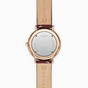 (100% Original) Skagen Ladies SKW8200 Signatur Slim Red Brown Leather Watch