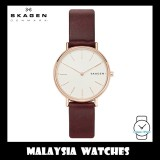(100% Original) Skagen Ladies SKW8200 Signatur Slim Red Brown Leather Watch