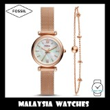 (OFFICIAL WARRANTY) Fossil Women ES4443SET Carlie Mini Rose Gold-Tone Stainless Steel Watch and Bracelet Box Set