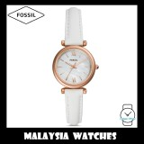 (OFFICIAL WARRANTY) Fossil Women ES4582 Carlie Mini Three-Hand White Leather Watch