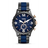 Fossil JR1494 Nate Chronograph Stainless Steel Watch (Black & Blue)