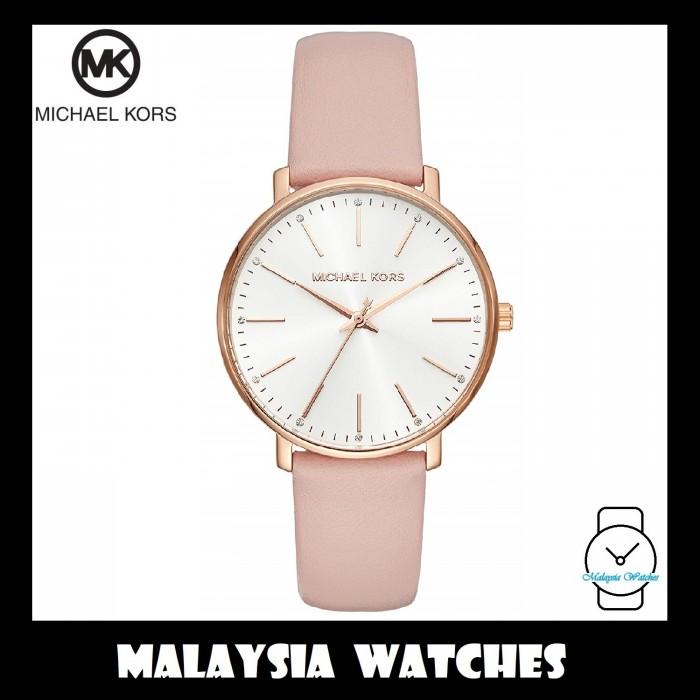 5d1252a30f20e3 (100% Original) MICHAEL KORS Ladies MK2741 Pyper White Dial Pink Leather  Watch