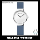 (100% Original) BERING Ladies 15531-700 Max René Polished Silver Sapphire Blue Silicone Watch