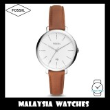 (OFFICIAL WARRANTY) Fossil Women ES4368 Jacqueline Three-Hand Date Brown Leather Watch