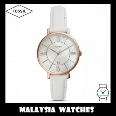 (OFFICIAL WARRANTY) Fossil Women ES4579 Jacqueline Three-Hand Date White Leather Watch