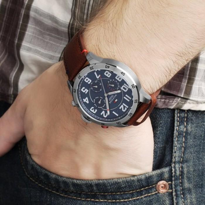11ee1b572 (100% Original) Tommy Hilfiger Men's 1791066 Trent Multifunction Blue Dial  Brown Leather Watch