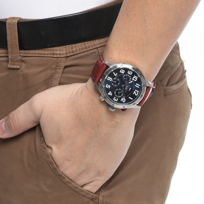 ballena terminado Absorbente  100% Original) Tommy Hilfiger Men's 1791066 Trent Multifunction Blue Dial  Brown Leather Watch