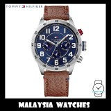 (100% Original) Tommy Hilfiger Men's 1791066 Trent Multifunction Blue Dial Brown Leather Watch
